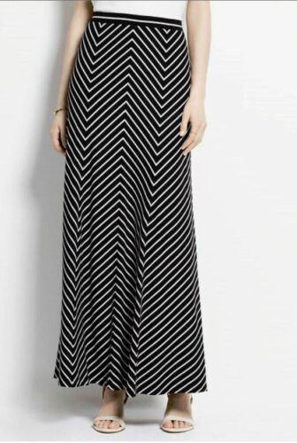 NWT $129 Ann Taylor Black//Tan chevron striped women/'s Long MAXI skirt