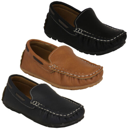 Boys Girls Kids Leather Black Grey Driving Loafers Slip On Boat Deck Casual UK