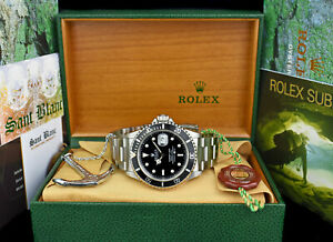 ROLEX-Mens-Vintage-Stainless-Submariner-Black-Dial-BOX-BOOKS-16610-SANT-BLANC