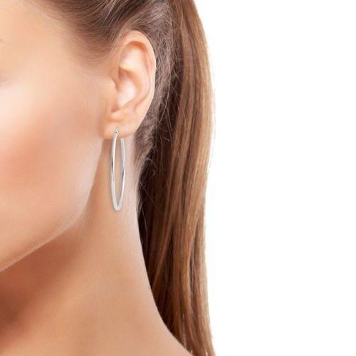 Femme Argent Sterling 925 élégant S en forme d/'ARGENT Grande Boucles D/'oreilles Créoles
