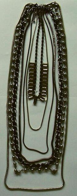 Black & Silver NECKLACE...7 Strand assorted chain designs & lengths...NEW ITEM
