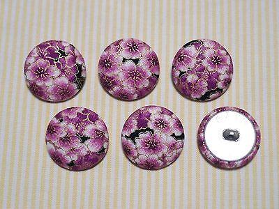 6 Blue Cherry blossoms 30mm Sakura Flower Pattern Fabric Covered Buttons