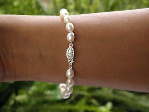 White-Cultured-Freshwater-Pearl-Bracelet-6-7mm-925-SOLID-Silver
