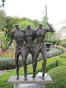 "Gastfreundlich Moderne Abstrakte Skulpturengruppe ""3mÄnner"" Bronze Garten Deko Neu Metallobjekte"