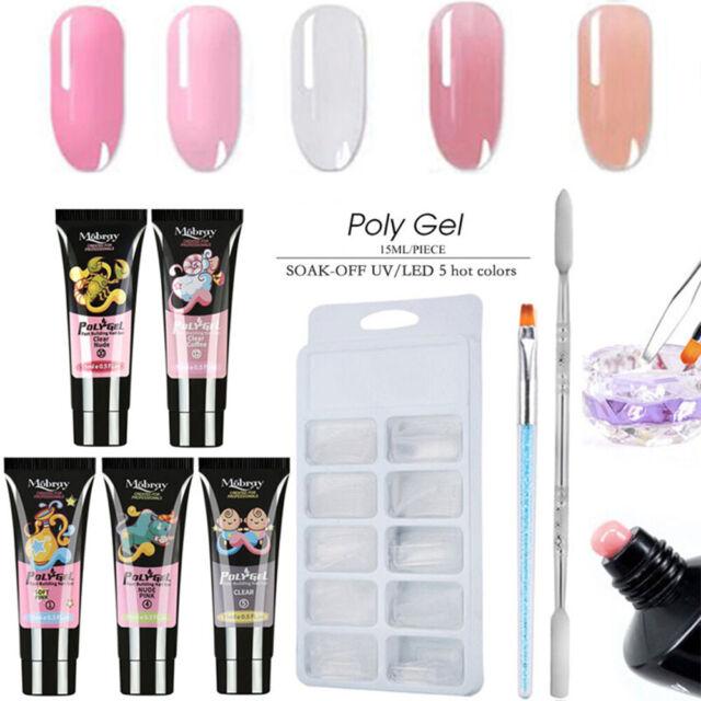 8Pcs Poly Extension UV Gel Nail Polish Set Lamp Tips Crystal Quick Building Kit-