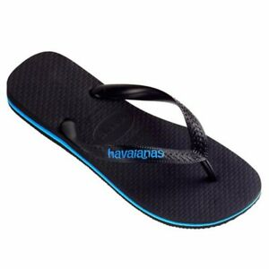 43900271ab3d Image is loading Havaiana-Rubber-Logo-Thong-Black-Blue-Mens-SALE