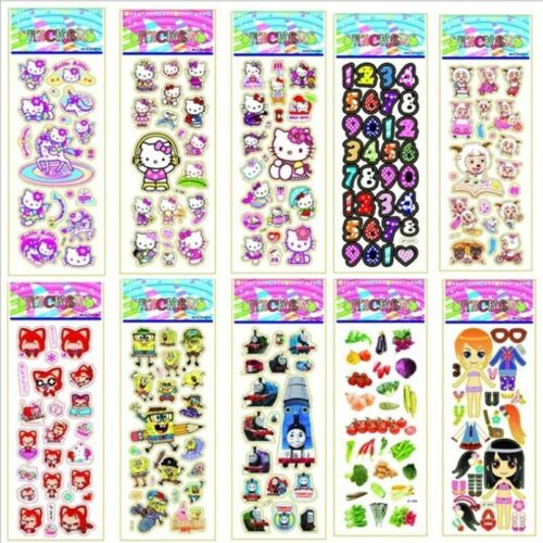 10 Sheets Kids Bubble Stickers 3D Cartoon Classic Gift For Decal School Reward