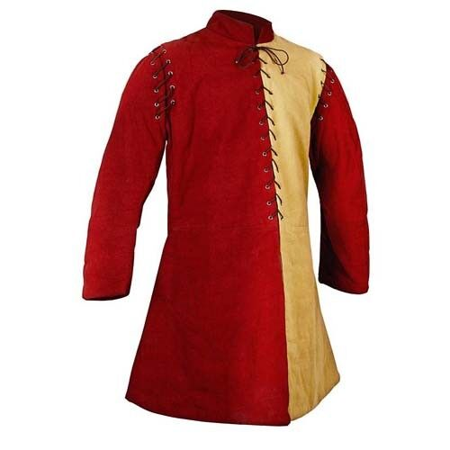 Beautiful Medieval Thick Padded Red Yellow Gambeson Play Custome Larp Sca