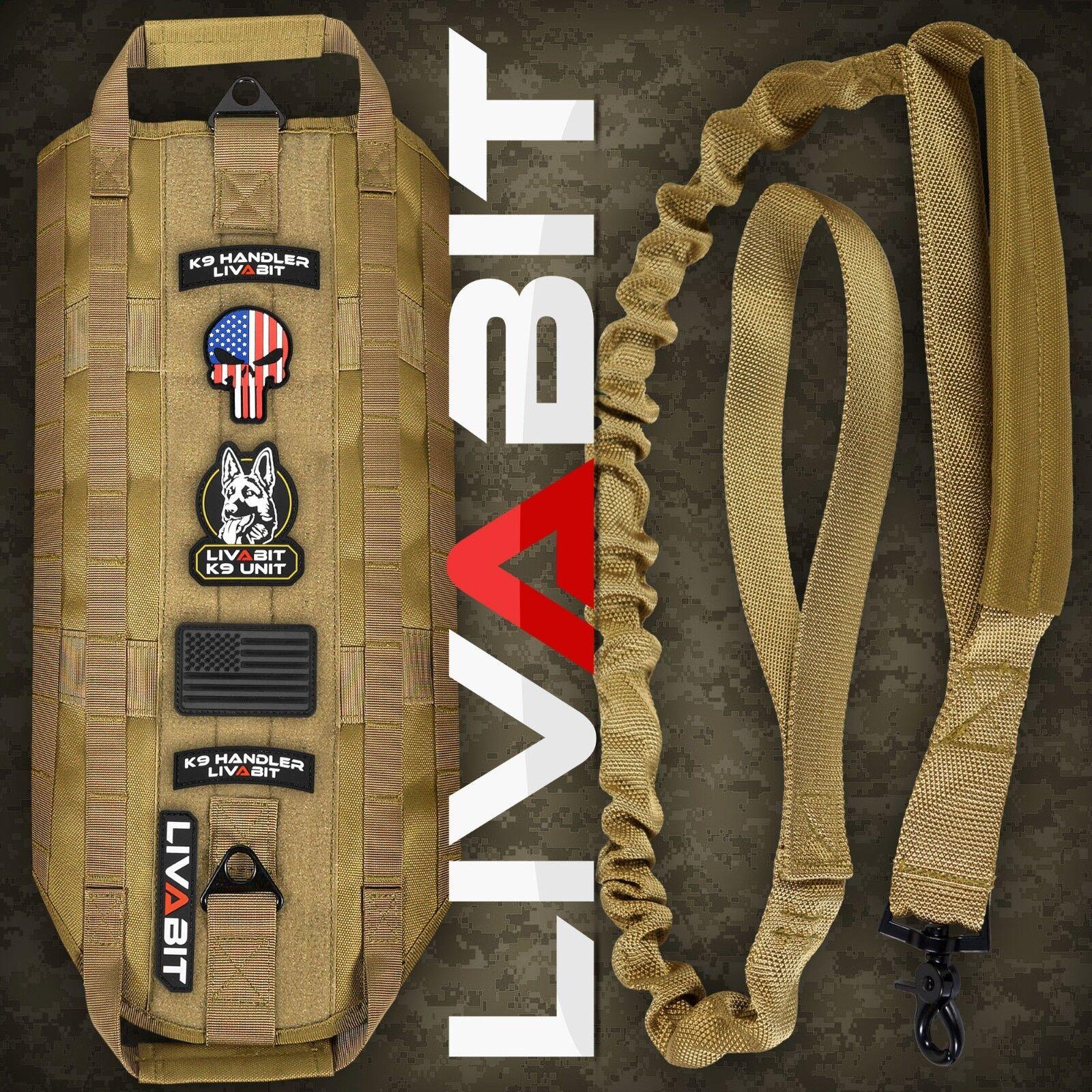 LIVABIT K9 Dog Tactical Vest Harness PVC Patch Heavy Duty Bungee Leash Tan Small