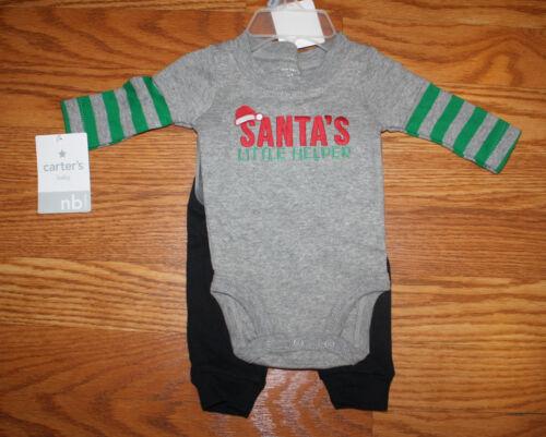 NWT CARTERS BABY Santa's Little Helper Christmas 2 Piece Outfit Newborn