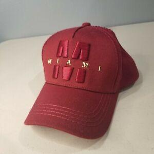 Robin-Ruth-Miami-034-M-034-Florida-Cap-Hat-Red-Garnet-Maroon-Unisex-Snapback