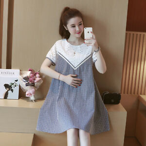d877cc2ab24 Image is loading Summer-Korean-Pregnant-Women-Clothes-Short-Sleeve-Cotton-