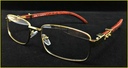 Mens Classy Elegant Retro Style Clear Lens EYE GLASSES Gold /& Wood Fashion Frame