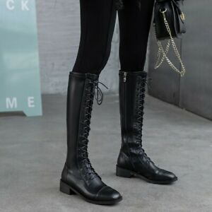 New Women/'s Zipper Round Toe Lace Up Knee High Boots Block Med Heel Side Shoes