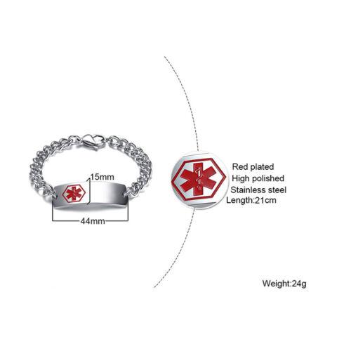 Medizinische Medical Alert ID-Armband Breite Kette Notfall Edelstahl Panzerkette