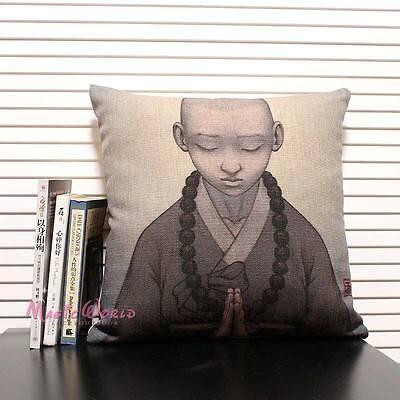Buddhist Boy Monk Zen Buddha Cushion Cover Throw Pillow Case Linen Home Decor