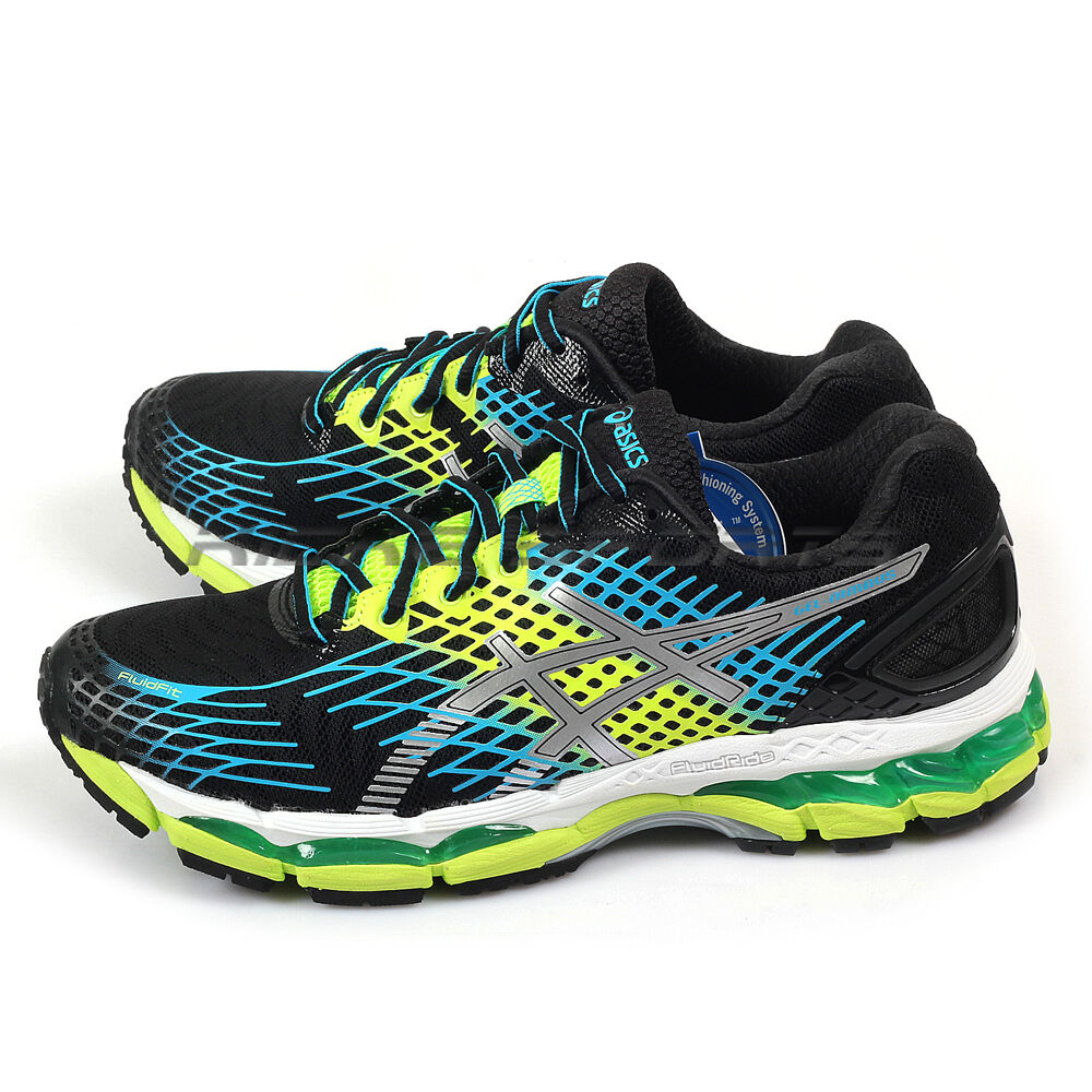Asics Gel-Nimbus 17 Cushioning  Running Shoes Onyx/White/Flash Yellow T507N-9901