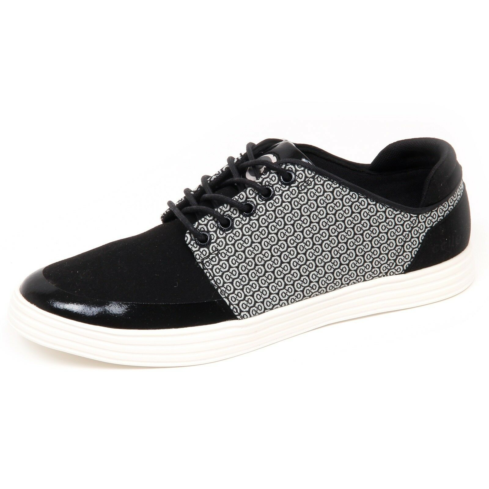 E8238 (WITHOUT BOX) sneaker uomo white/black CCILU tissue/eco suede shoe man