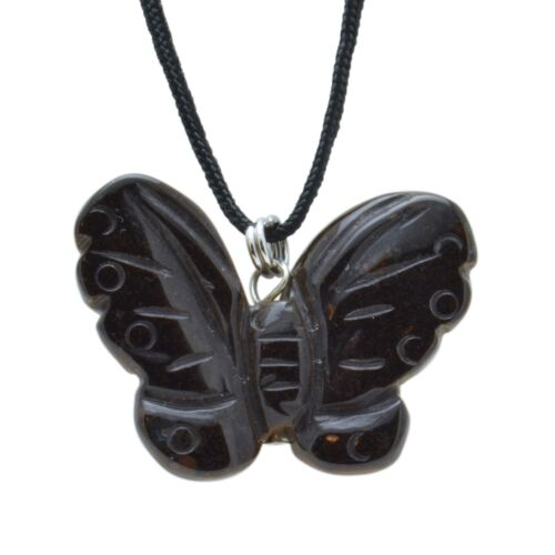 Butterfly Tigers Eye Gemstone Pendant Hand Carved Stone Necklace