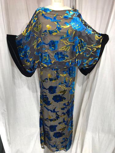Vintage Inspired 1930's Blue Floral Velvet Kimono