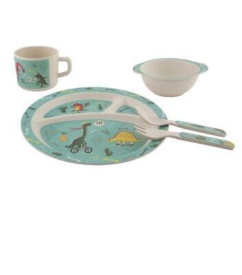 Dinosaur Dinner Set Kids//children//gift//present-plate//bowl//cup//fork/&spoon
