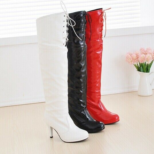 New Fashion Womens Lace Up Patent Over Knee Thigh Boots Dance Sexy Heel shoes US