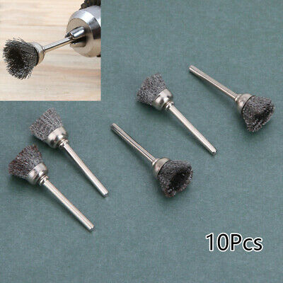 10pcs Stainless Steel Wire Brush Brushes Brass Cup Wheel For Grinder Drill Tools