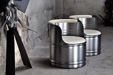 Metall Sessel aus 200l Fass Ölfass gebürstet & klar pulverbeschichtet Industrie
