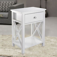 Wood Side End Table Night Stand Storage Accent Furniture W/ Drawer Shelf White