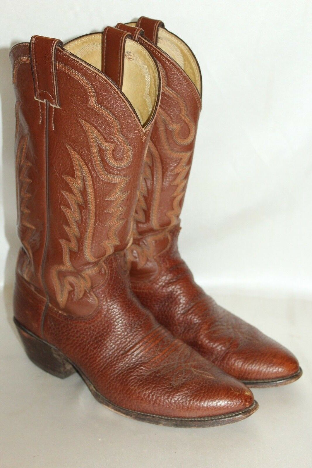 Mens JUSTIN BOOTS Brown Calf Leather Western Cowboy Low Heel Riding Boots 7.5 D