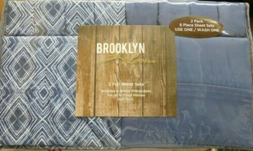 2 PACK-BROOKLYN LOOM 6 PIECE FULL SIZE SHEET SETS-12 PIECES TOTAL