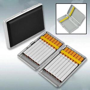 Black-Pocket-Leather-Metal-Tobacco-14-Cigarette-Smoke-Holder-Storage-Case-Box