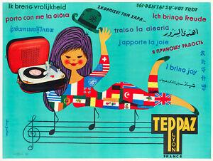 Original-Vintage-Poster-Gauthier-Teppaz-Tourne-Disque-Yeye-Musique-1960