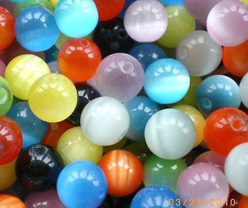 100 x 4mm Mixed Coloured  Cats Eye Beads,CE06M99