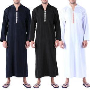Men-039-s-Long-East-Kaftan-Saudi-Arab-Islamic-Clothing-Long-Sleeve-Thobe-Robe-Tunic