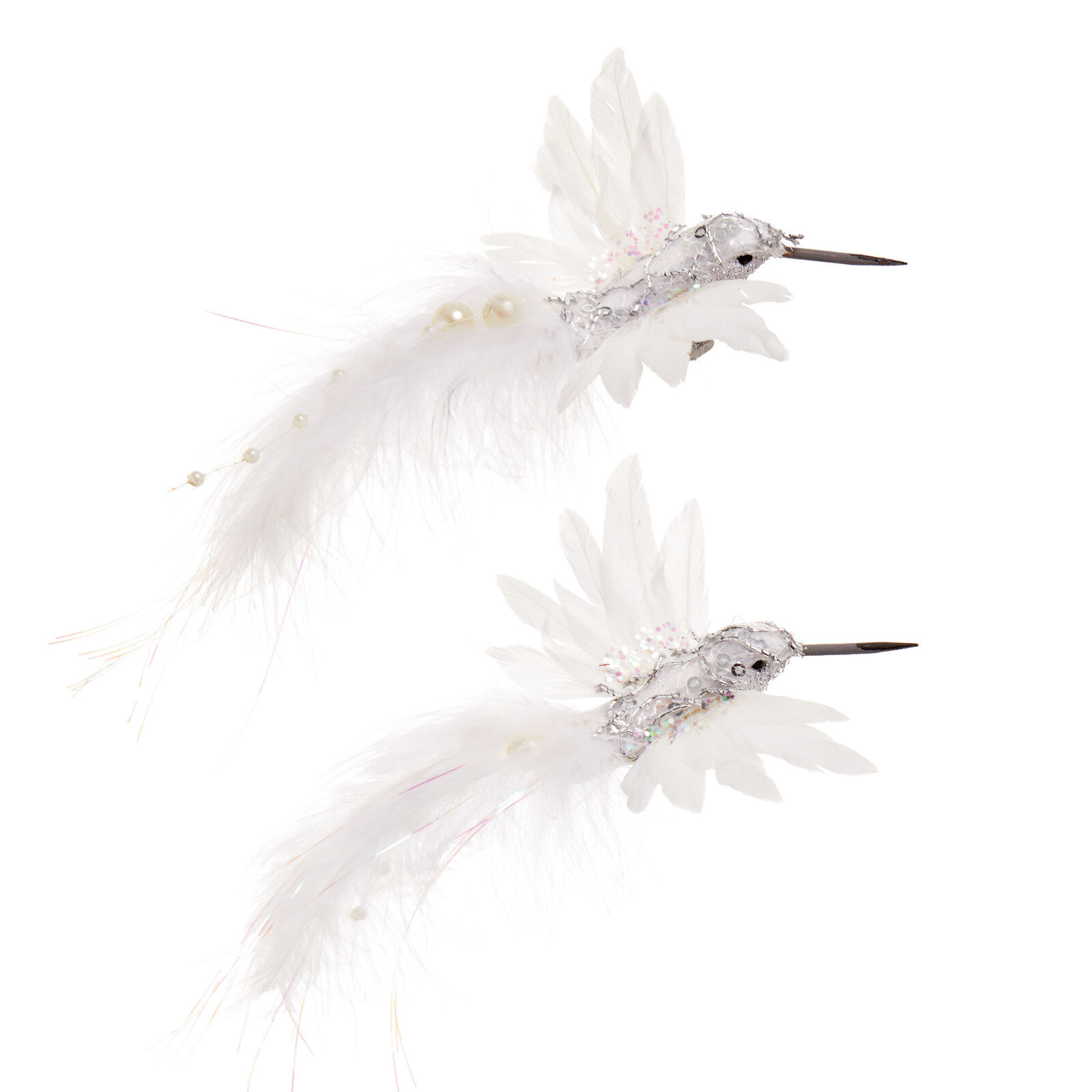 Flying Bird 15cm /'White/' /& Real Feather Premier Christmas Decoration Pack x2