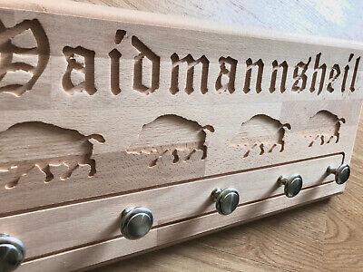 Förster altdeutsche Schrift Garderobe Waidmannsheil Geschenk für Jäger Buche