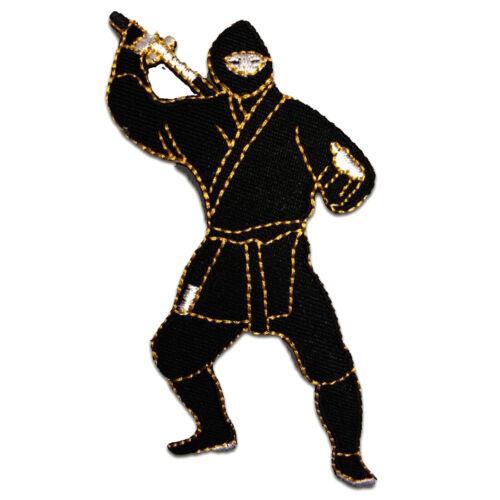 schwarz 5,2 x 10,3 cm Aufnäher // Bügelbild Ninja Kämpfer Comic