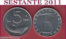 A20  ITALY ITALIA  REPUBBLICA ITALIANA 5 LIRE 1991 KM 92  FDC / UNC  DA ROTOLINO