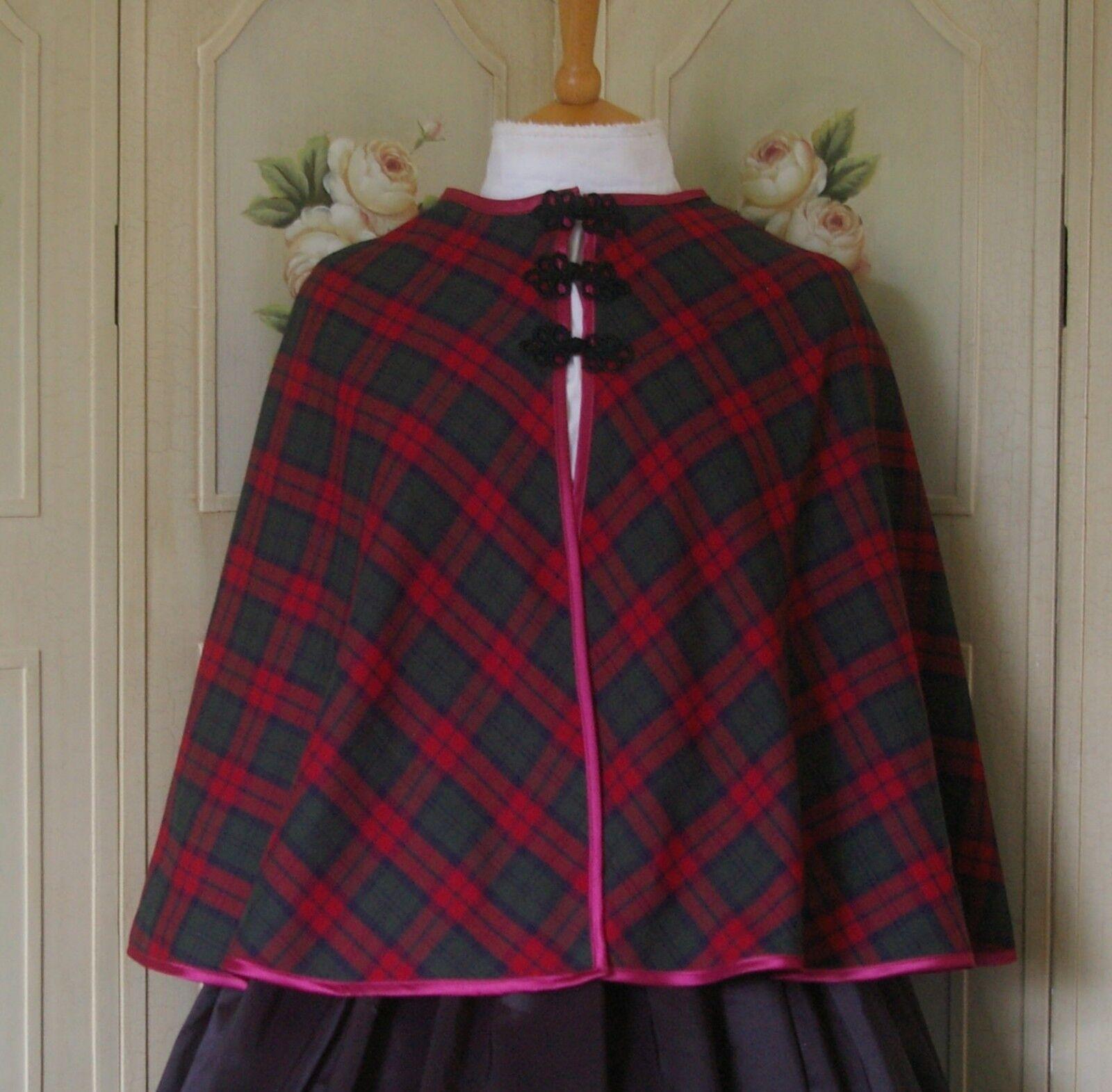 Ladies Victorian CAPE costume fancy dress UK size 14-18 green & burgundy tartan