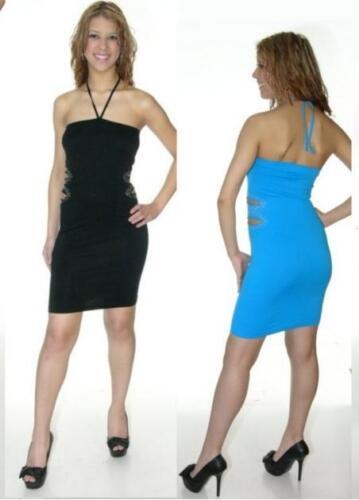 L BLACK BLUE Womens Dress Halter Peek A Boo Mini Tube O//S S