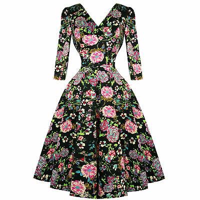 Hearts & Roses London Nero Rosa Floreale 1950s Vintage Con Svasato Swing Abito-mostra Il Titolo Originale Garanzia Al 100%