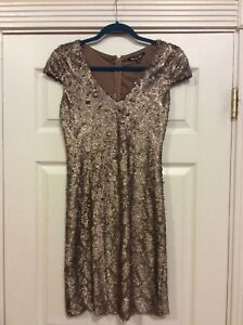 395eccd6a5 Image is loading Gianni-Bini-Gold-Sequin-Dress-Size-S
