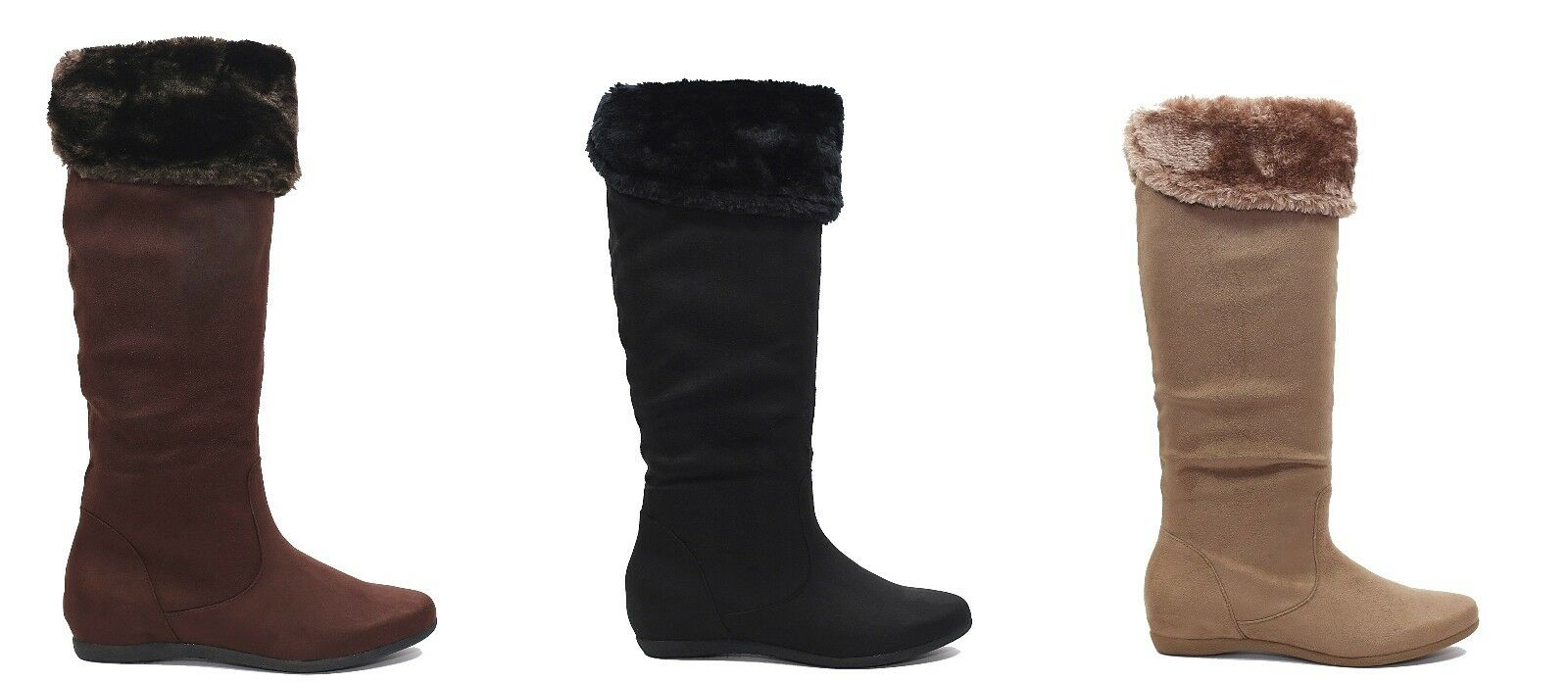 Women's Round Toe Flat Platform Mid-Calf Knee High Boots Shoes Size 5 -10