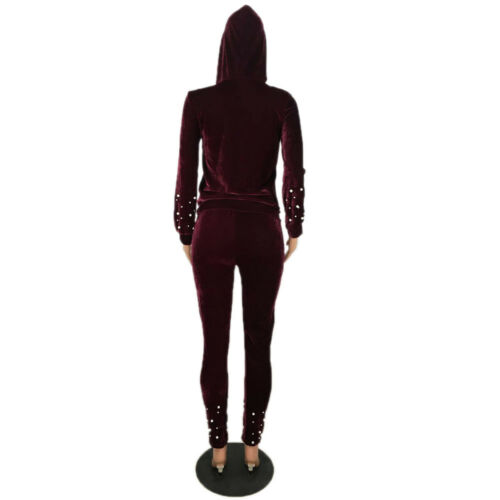Fashion Women Hooded Zipper Beaded Velvet Long Bodycon Jumpsuits Pants Set 2pcs