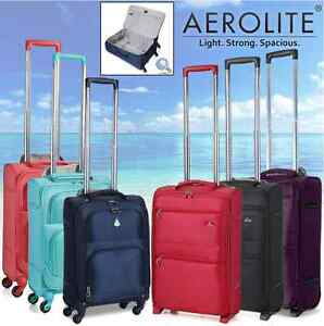 Aerolite Lightweight Travel Trolley Hold & Hand Cabin Luggage Bags ...