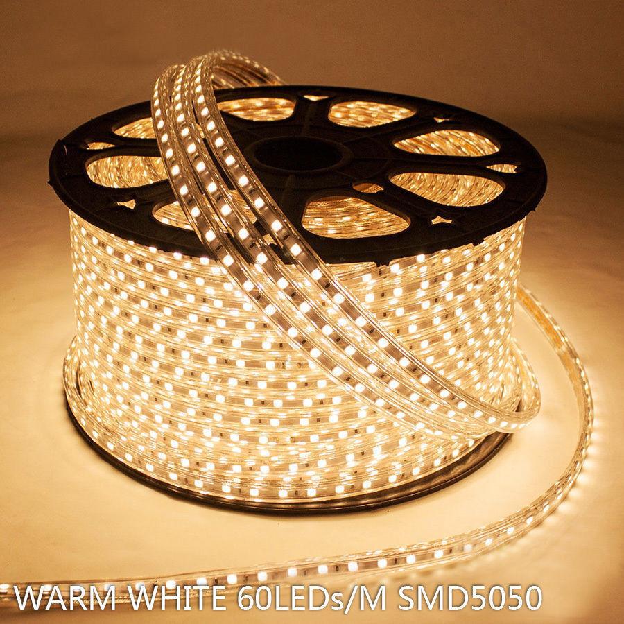 26ft blancoo Cálido 110V 60 LED 5050 SMD Flexible Plana Tira de LED luz de la cuerda IP67