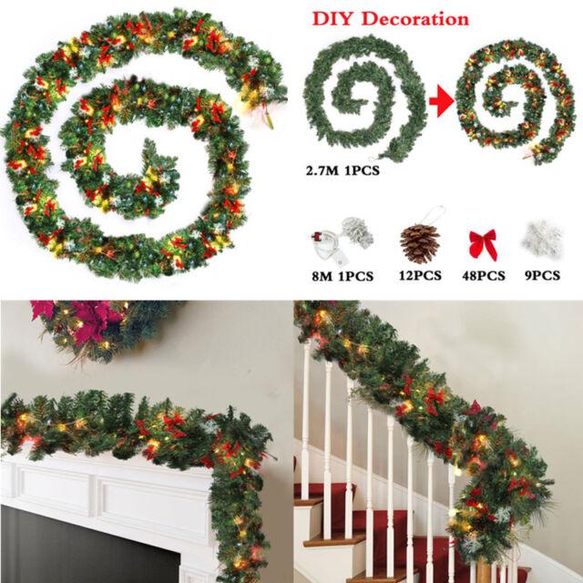 Christmas Decorations Garlands.9ft Diy Gold Christmas Garlands Fireplace Stairs Xmas Decorations Led Lights Uk