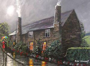 Pete-Rumney-Art-Original-Canvas-Painting-Village-Lane-Country-Cottages-Umbrella