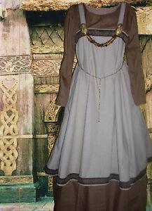 Details about Norse SCA Garb Medieval Viking Costume Apron LinenTan Kirtle  Brown Ctn L XL